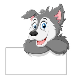 Cute wolf cartoon with blank sign vector