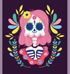 day dead female skeleton with hair flowers vector image