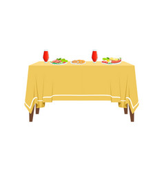 Delicious food and drinks on restaurant table for vector