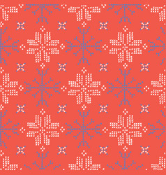 Embroidery snowflake stitches seamless vector