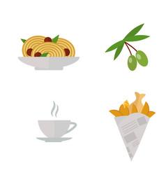european tasty food olive branch oil dinner food vector image