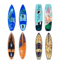 flat set of surfing boards vector image