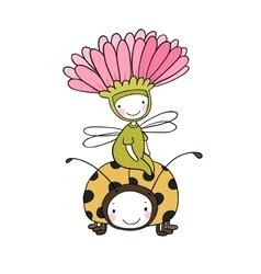 Flower fairy and a ladybug vector