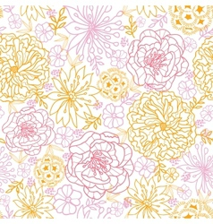 Flowers outlined seamless pattern background vector image