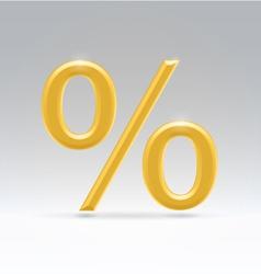 golden percent symbol vector image
