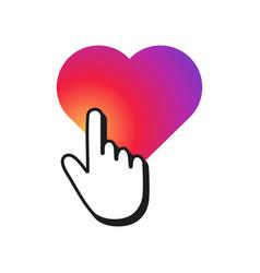 Hand cursor clicking on a heart shape heart with vector