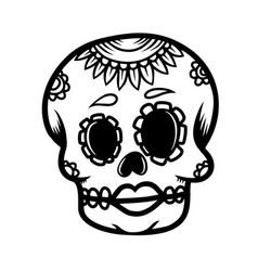 hand drawn mexican sugar skull isolated on white vector image