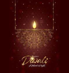 happy diwali festival card gold indian diya candle vector image
