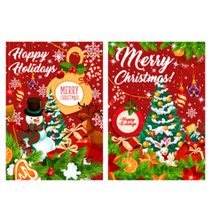 happy holidays snowman and gifts vector image