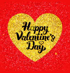 Happy valentines day glitter postcard vector