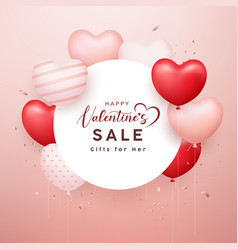 happy valentines sale white paper circle space vector image