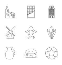 Holiday in Holland icons set outline style vector