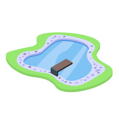 Home lake pool icon isometric style vector