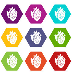human heart organ icons set 9 vector image
