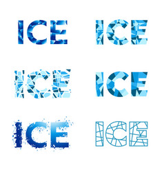 Ice word different design set vector