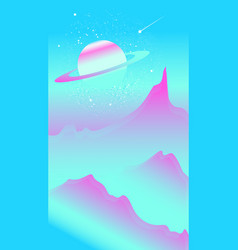 landscape with pink hills stars and saturn planet vector image