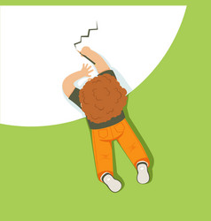 Little boy lying on his stomach and drawing using vector