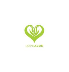 Love aloevera logo vector