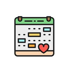 love calendar wedding date valentines day flat vector image
