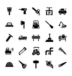 Maintenance and site tools glyph icons pack vector