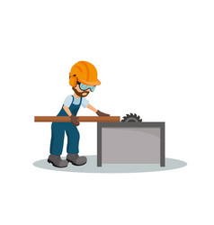 male carpenter cutting a wooden plank vector image