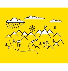 Map mountains Set graphic elements yellow black vector image
