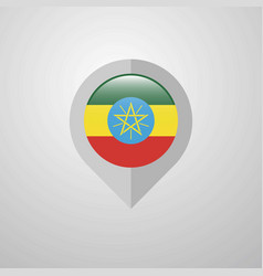 Map navigation pointer with ethiopia flag design vector