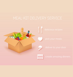 Meal-kit delivery service online ordering of vector