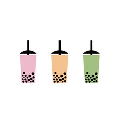 milk bubble tea drink tapioca cup boba vector image