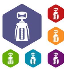 Modern corkscrew icons set hexagon vector