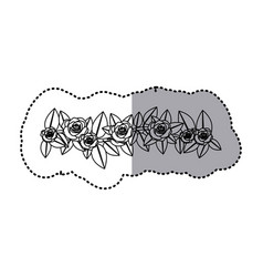 Monochrome contour sticker of crown of leaves with vector