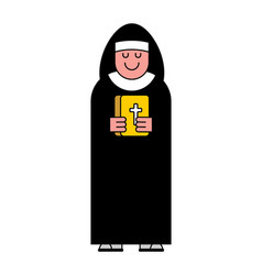 nun and bible contour style catholic religious vector image