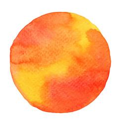 orange and yellow watercolor circle shape banner vector image