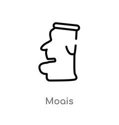 Outline moais icon isolated black simple line vector
