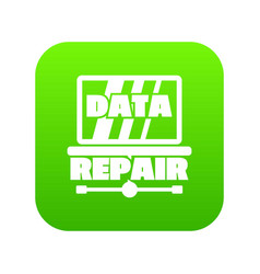 pc data repair icon green vector image