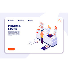 Pharmacy isometric concept doctor pharmacist and vector