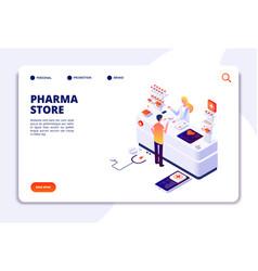 pharmacy isometric concept doctor pharmacist vector image