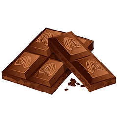 pieces chocolate isolated on white vector image