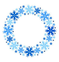 round winter frame of snowflakes isolated vector image