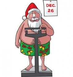 Santa on scales vector