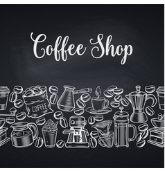 Seamless border coffee shop vector
