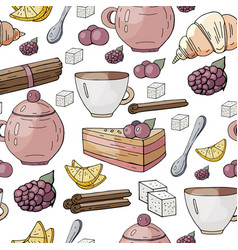 seamless pattern with different tea and cakes vector image