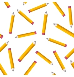 Seamless pattern with yellow pencils on white vector image