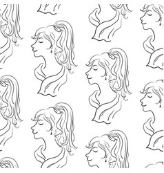 seamless pattern women contours vector image