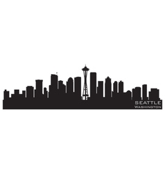 seattle washington skyline detailed silhouette vector image