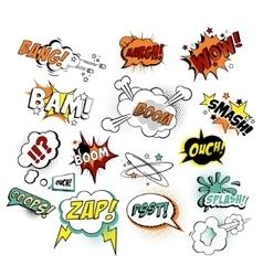 set comic text pop art style vector image