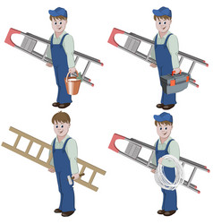 set of handyman with ladder vector image