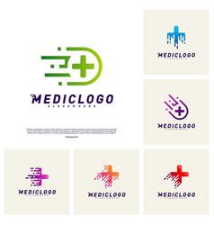 Set of medical tech logo design concept colorful vector