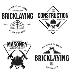 Set of vintage construction and bricklaying labels vector