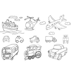 Set transports cartoon monochrome isolated vector
